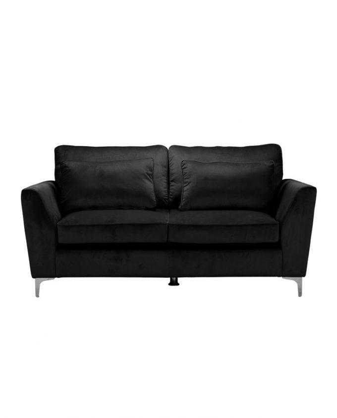 2 seater black velvet sofa