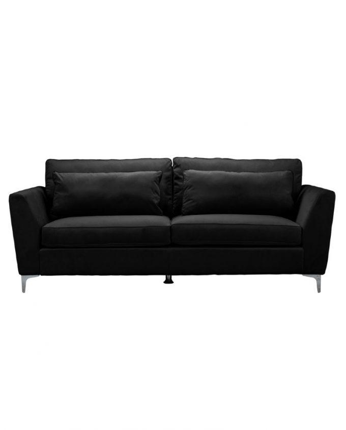 3 seater black velvet sofa